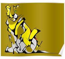 Yellow Voltron Lion Cubist Poster