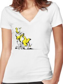 Yellow Voltron Lion Cubist Women's Fitted V-Neck T-Shirt
