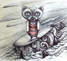 surfing grumpy cat art by melaniedann