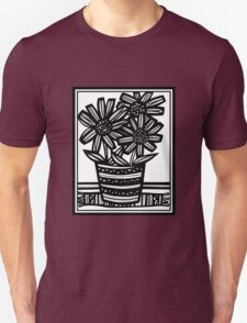Lavadero Flowers Black and White Unisex T-Shirt