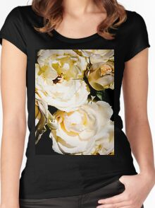 Beautiful White Roses Women's Fitted Scoop T-Shirt