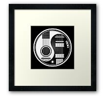 White and Black Acoustic Electric Guitars Yin Yang Framed Print