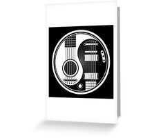 White and Black Acoustic Electric Guitars Yin Yang Greeting Card