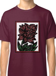 Serendipity Flowers Red White Black Classic T-Shirt