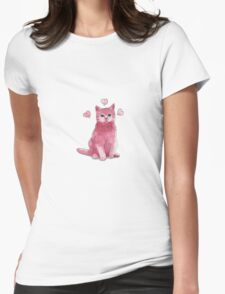 Pink Kitty  Womens Fitted T-Shirt