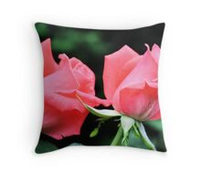 Peach Rose Duo Throw Pillow