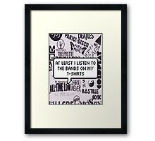bands on my t-shirt Framed Print