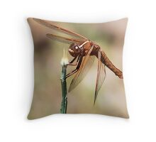 Flame Skimmer Dragonfly Throw Pillow