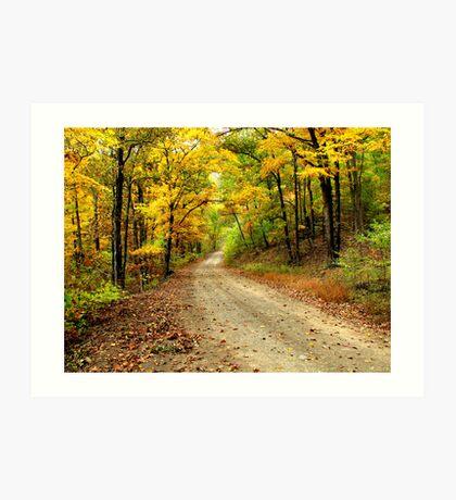 Golden Autumn Road Art Print