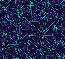 Abstract Geometric 3D Triangle Pattern in  turquoise/ purple  by badbugs