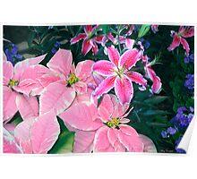 Winter's Garden Wonder - Pointsetta and Stargazer Lillies Poster