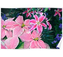 Winter's Garden Wonder - Pointsetta and Stargazer Lillies Poster