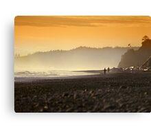 Walking along the ocean shore Canvas Print