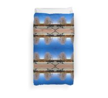 Cross with guardian trees in winter wonderland | landscape photography Duvet Cover