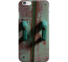 Retro pale green bakelite  handles on distressed wooden cabinet iPhone Case/Skin