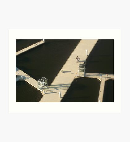 Two Cyclists, Docklands Art Print