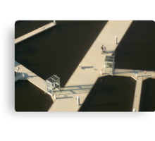 Two Cyclists, Docklands Canvas Print