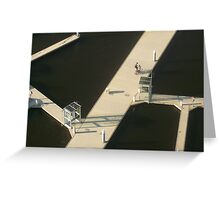 Two Cyclists, Docklands Greeting Card