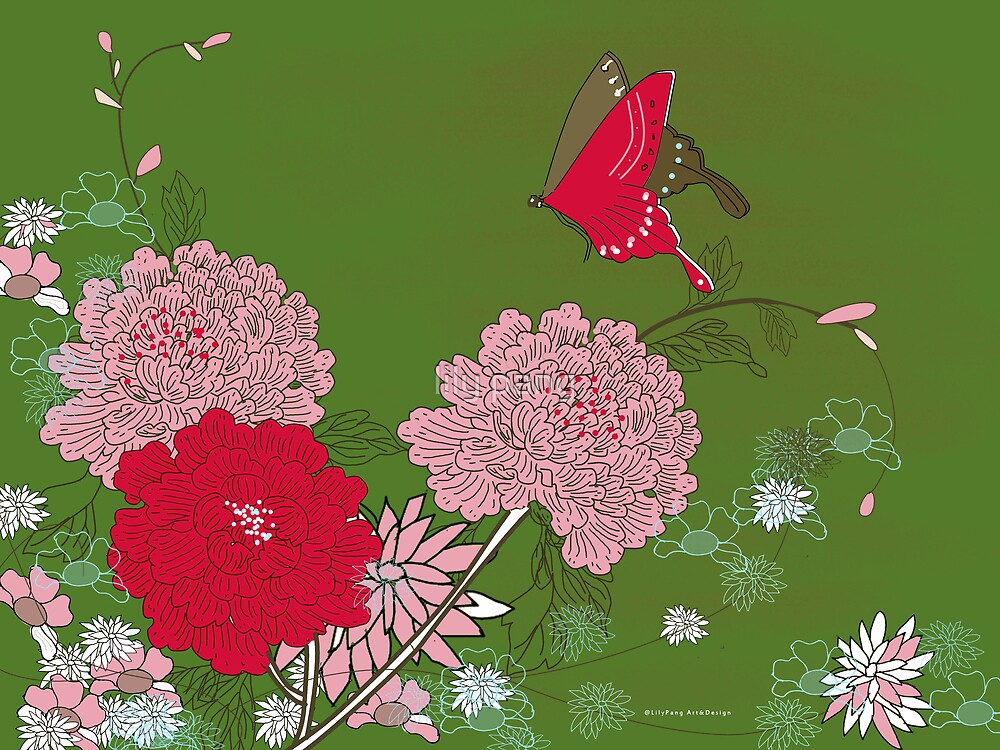 Peony and Butterfly by lily pang