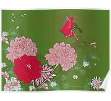 Peony and Butterfly Poster