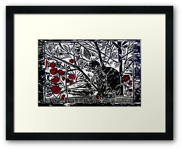 "Poppy on the Deck-Woodcut by Belinda ""BillyLee"" NYE (Printmaker)"