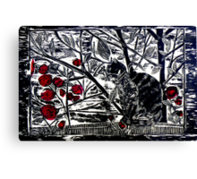 Poppy on the Deck-Woodcut Canvas Print