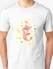 Hand drawn floral ornaments with flowers and rings. Unisex T-Shirt