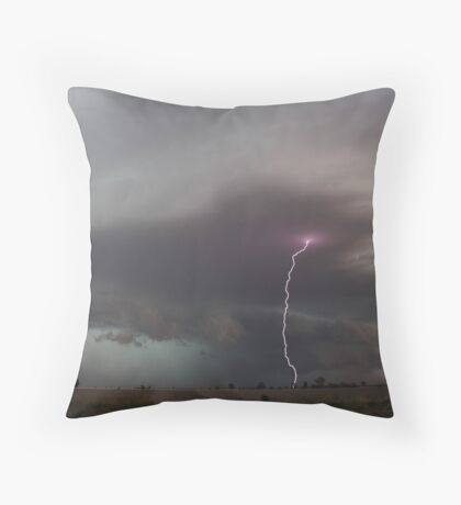 Piercing lightning strobes ahead of storm northern NSW Throw Pillow