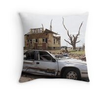 Tornado damaged car and house in Greensburg  Throw Pillow