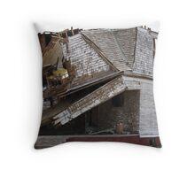 Tornado damaged house Throw Pillow