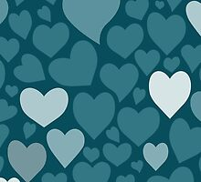 Blue hearts pattern by HelgaScand