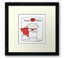 Powered by caffeine / Cat doodle Framed Print