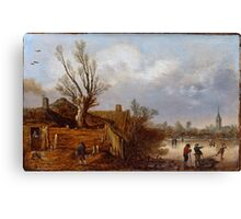 Esaias van de Velde I - Cottages and Frozen River Canvas Print