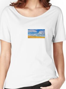 Painting with light: Farmland and wind turbines Women's Relaxed Fit T-Shirt
