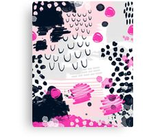 Jiri - Abstract painting in modern fresh colors navy, blush, cream, white, and gold decor girly Canvas Print