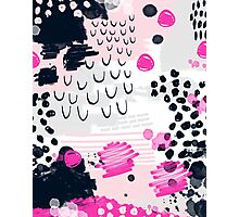 Jiri - Abstract painting in modern fresh colors navy, blush, cream, white, and gold decor girly Photographic Print