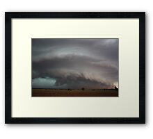 Supercell with developing microburst and raised dust Framed Print