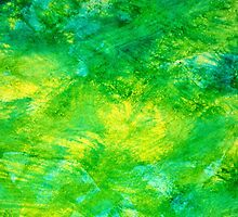 Abstract Spring Colors bright yellow, vivid green, & light blue by art-by-micki