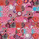 Tiled Pink Randomized Jigsaw Spirograph Design by RachelEDesigns