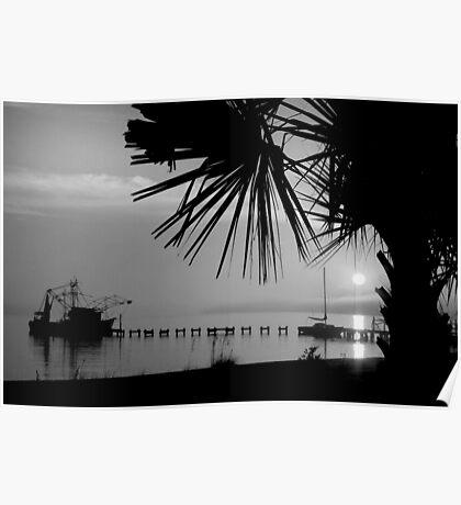 Foggy Biloxi Sunset in Mono Poster