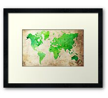 Green Map of the World - World Map for your walls Framed Print