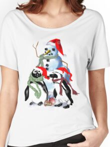 Christmas Penquin and Snowman Women's Relaxed Fit T-Shirt
