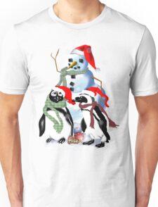 Christmas Penquin and Snowman Unisex T-Shirt