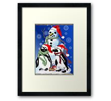 Christmas Penquin and Snowman Framed Print
