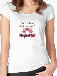 kawaii quit school become a magical girl melty text Women's Fitted Scoop T-Shirt