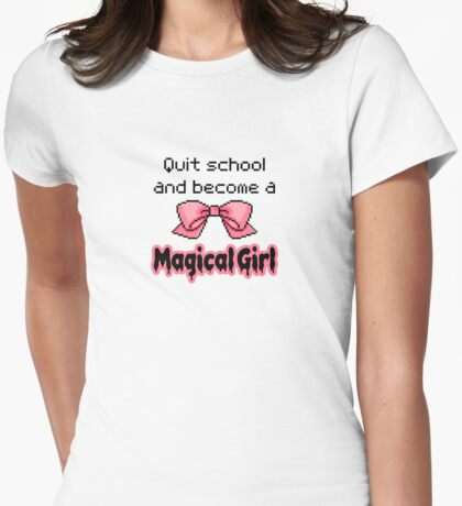 kawaii quit school become a magical girl melty text Womens Fitted T-Shirt