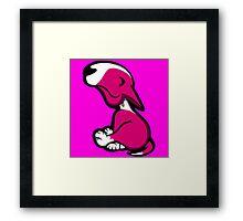 Innocent English Bull Terrier Puppy Pink  Framed Print