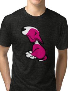 Innocent English Bull Terrier Puppy Pink  Tri-blend T-Shirt