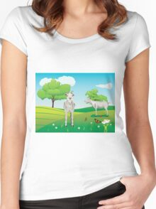 Goat and Green Lawn3 Women's Fitted Scoop T-Shirt