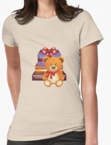 Teddy Bear with Gift Box 2 Womens Fitted T-Shirt